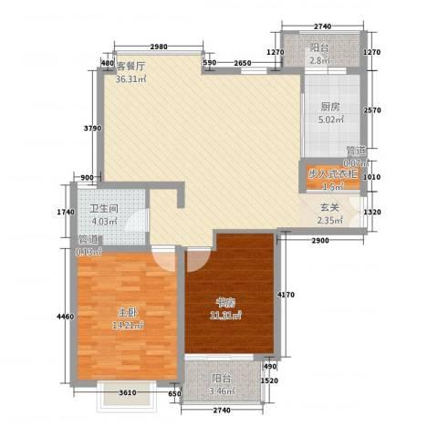 绿地海珀璞晖2室1厅1卫1厨112.00㎡户型图