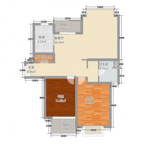 绿地海珀璞晖2室1厅1卫1厨114.00㎡户型图
