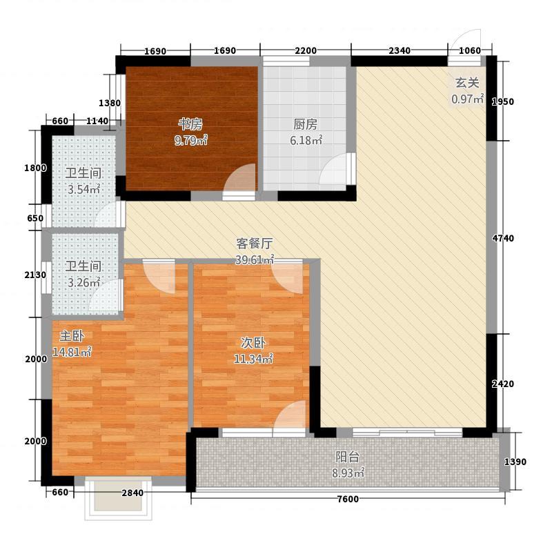大汉・中央广场133.20㎡户型3室2厅2卫1厨