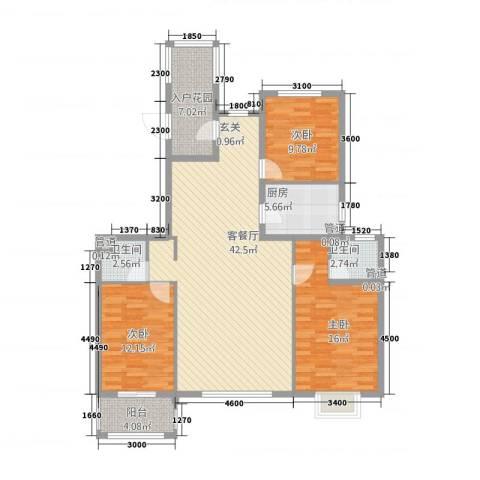 天成郡府3室1厅2卫1厨145.00㎡户型图