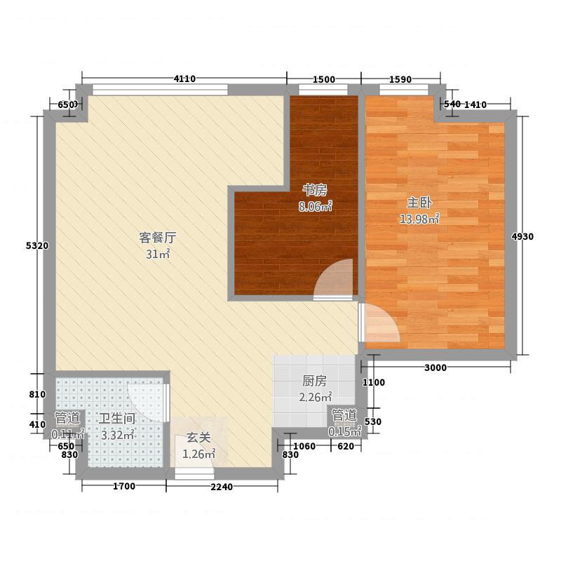 世纪广场翡翠城85.28㎡F户型2室2厅1卫1厨