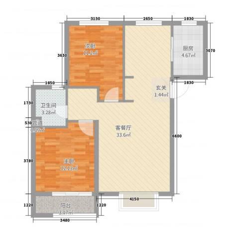 朗�骏景2室1厅1卫1厨68.14㎡户型图