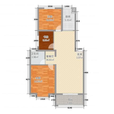 金世・现代城3室1厅1卫1厨84.81㎡户型图