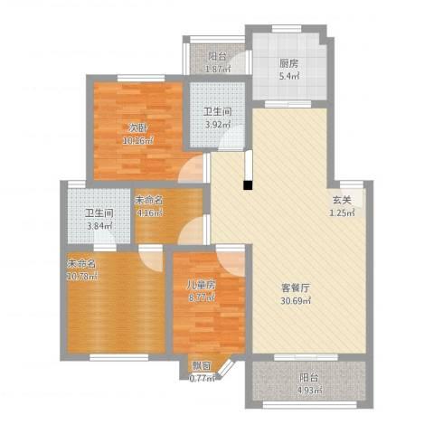 都市花园2室1厅2卫1厨123.00㎡户型图