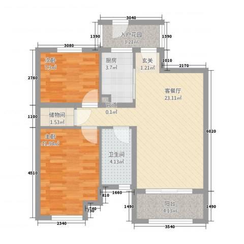 盛世金铺2室1厅1卫1厨86.00㎡户型图