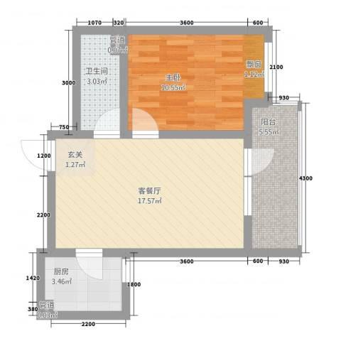 盛世金铺1室1厅1卫1厨53.00㎡户型图