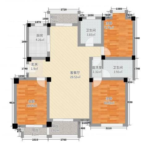 芳草园3室2厅2卫1厨117.00㎡户型图