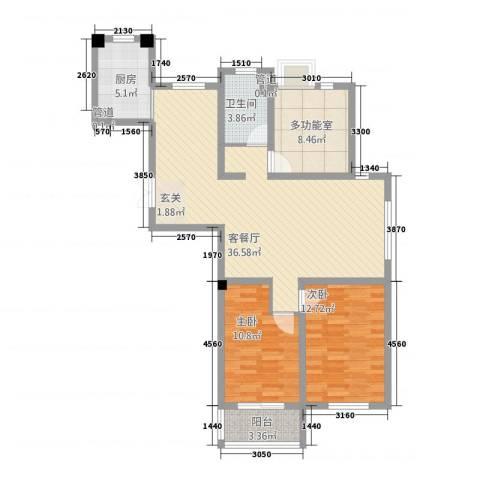 芳草园2室1厅1卫1厨117.00㎡户型图