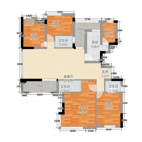 芳草园4室1厅3卫1厨117.00㎡户型图
