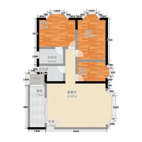 创业大厦3室1厅2卫1厨129.00㎡户型图