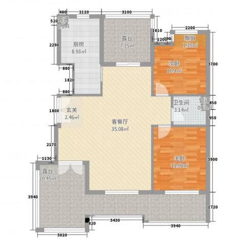 依云小镇2室1厅1卫1厨137.00㎡户型图