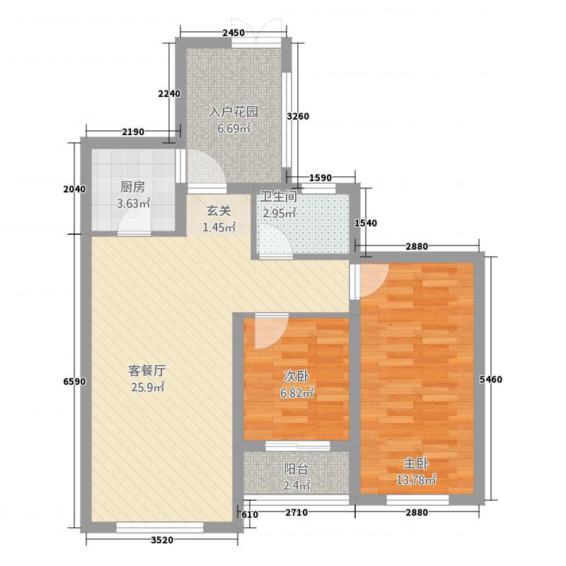 邢州乾景国际8.00㎡A户型2室2厅1卫