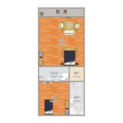 利民村2室1厅1卫1厨116.00㎡户型图