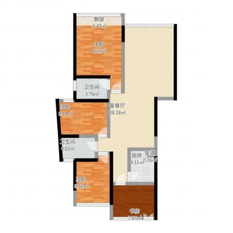 国际邮轮城一期4室1厅2卫1厨134.00㎡户型图