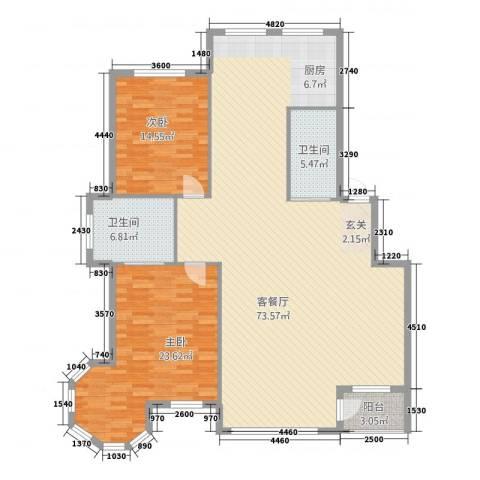 金城・水清源2室1厅2卫0厨154.00㎡户型图