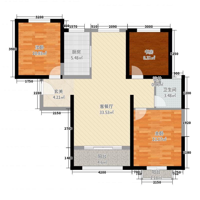 迁安天洋城4代115.00㎡23#24#G2户型3室2厅1卫1厨