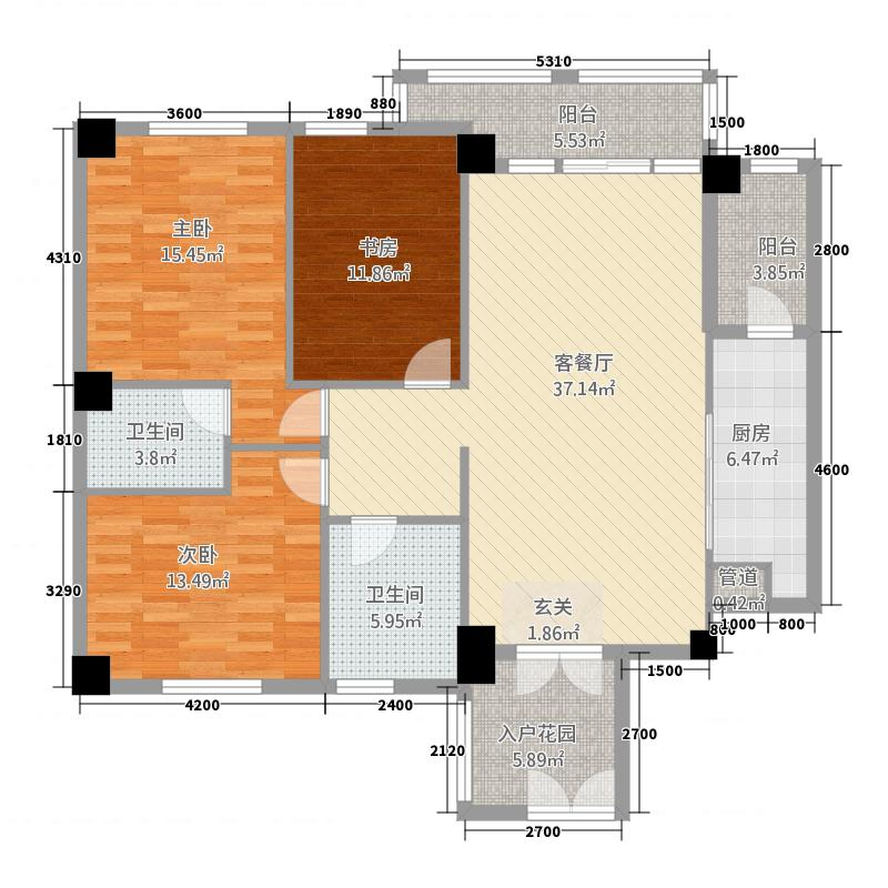 天辰广场133.67㎡1号楼3单元04户型3室2厅2卫1厨