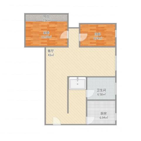 近贤苑2室1厅1卫1厨106.00㎡户型图