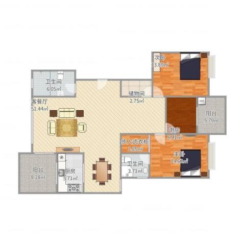 浪琴海3室1厅2卫1厨163.00㎡户型图
