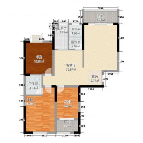 大汉・中央广场3室2厅2卫1厨131.00㎡户型图
