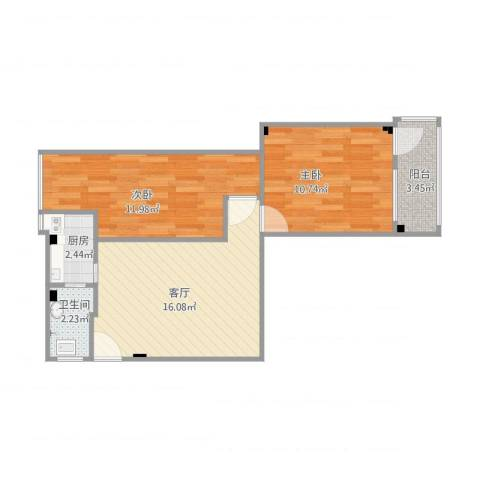 桃源小区2室1厅1卫1厨64.00㎡户型图