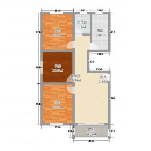 新都市华庭3室1厅1卫1厨113.00㎡户型图