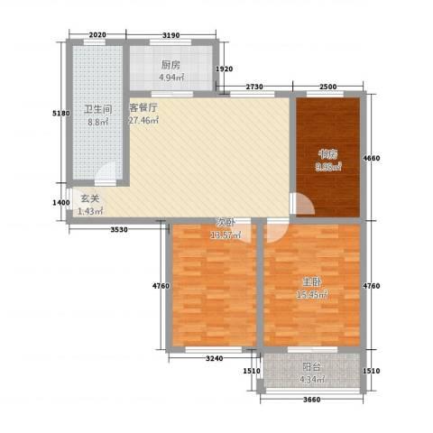 新都市华庭3室1厅1卫1厨122.00㎡户型图