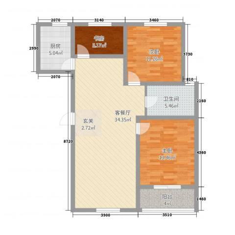 新都市华庭3室1厅1卫1厨114.00㎡户型图