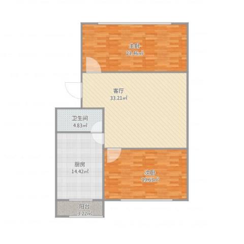 胜利小区2室1厅1卫1厨131.00㎡户型图