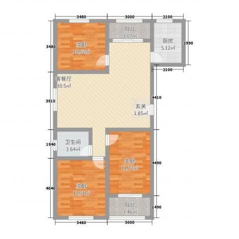 新都市华庭3室1厅1卫1厨117.00㎡户型图