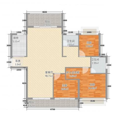 恒嘉・天天向上3室1厅2卫1厨104.54㎡户型图