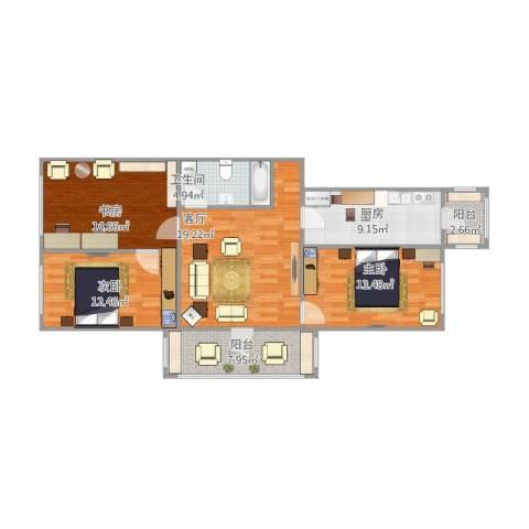 光华小区3室1厅1卫1厨114.00㎡户型图