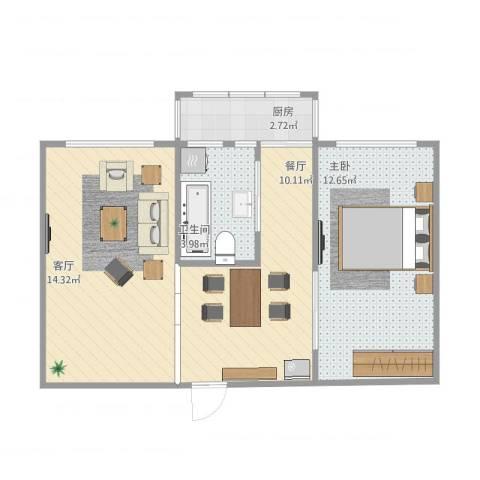 联强小区1室2厅1卫1厨60.00㎡户型图