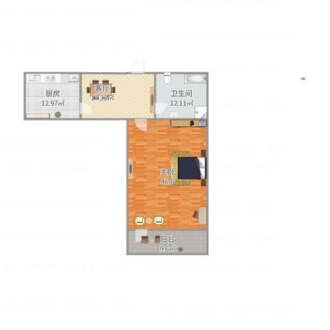 工人新村1室1厅1卫1厨129.00㎡户型图