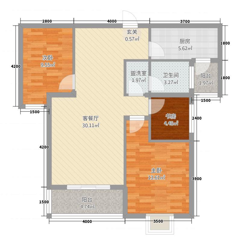 卧龙世家3.50㎡A户型3室2厅1卫1厨