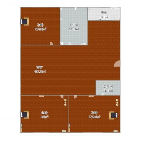 兰亭山水3室1厅2卫1厨1434.00㎡户型图