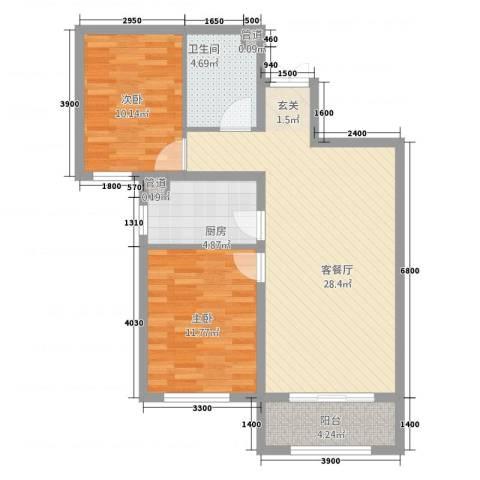 诗景颂苑2室1厅2卫2厨93.00㎡户型图