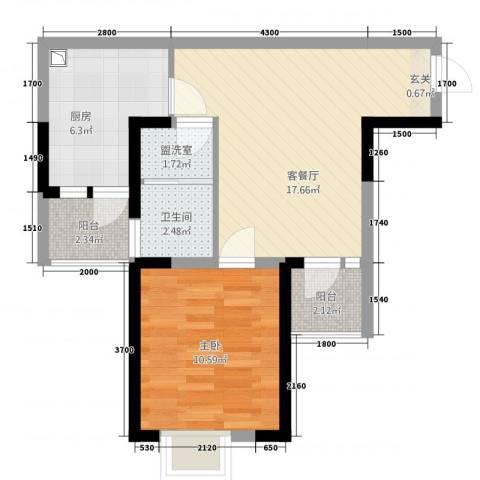 棕榈湾1室2厅1卫1厨64.00㎡户型图