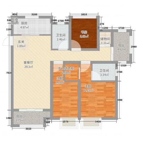 海亮香榭里3室1厅2卫1厨118.00㎡户型图