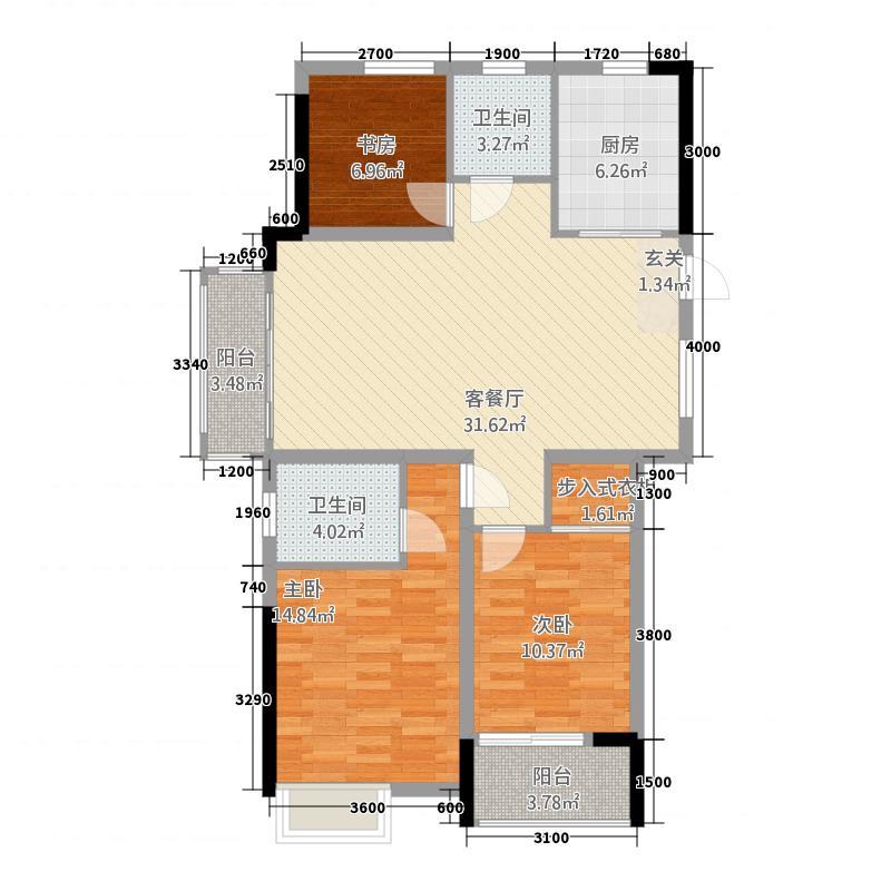 荆州市望江国际33115.12㎡B户型3室2厅2卫1厨