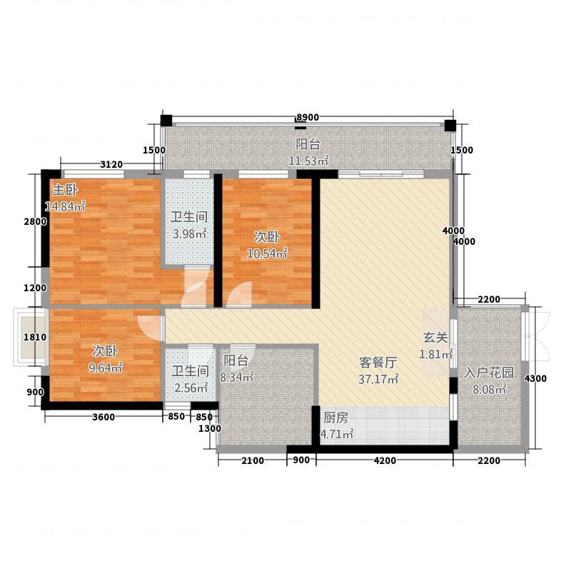 地王财富中心12.32㎡c户型3室2厅2卫