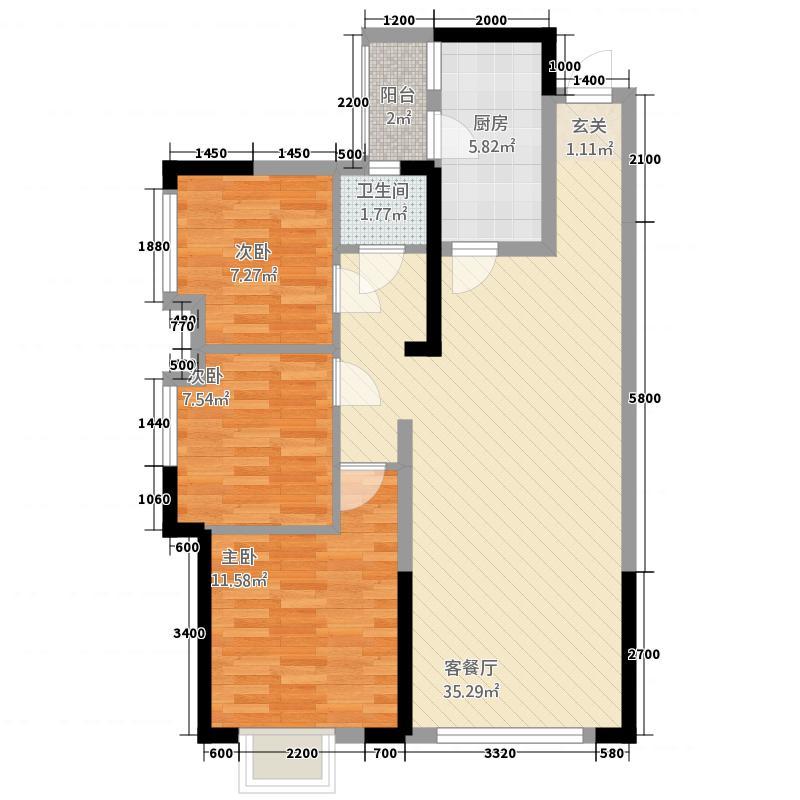 安州长虹世纪城84.46㎡B3户型2室2厅1卫1厨