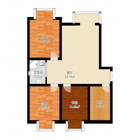 芦台龙胤溪园3室1厅1卫1厨118.00㎡户型图
