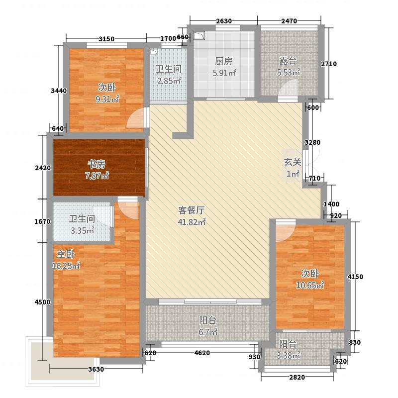 奥文国际城163.44㎡B区2#E户型4室2厅2卫1厨