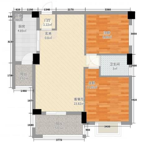 万联蓝湾国际2室1厅1卫1厨487.00㎡户型图