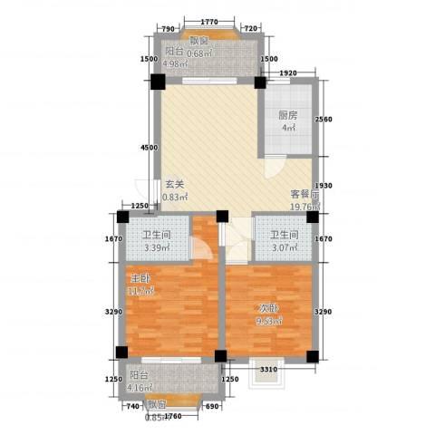 明天世纪广场2室1厅2卫1厨88.00㎡户型图