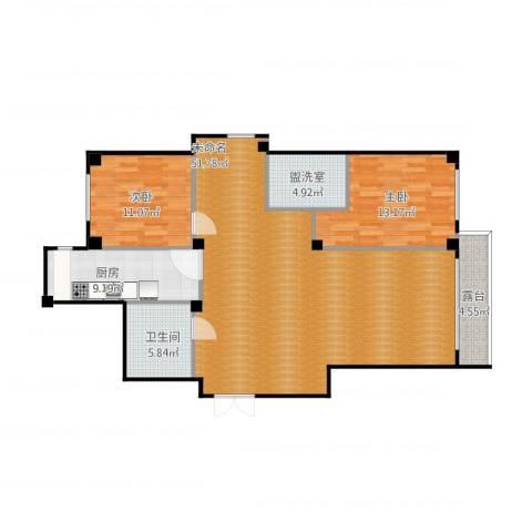 马德里皇家水岸2室1厅1卫1厨135.00㎡户型图