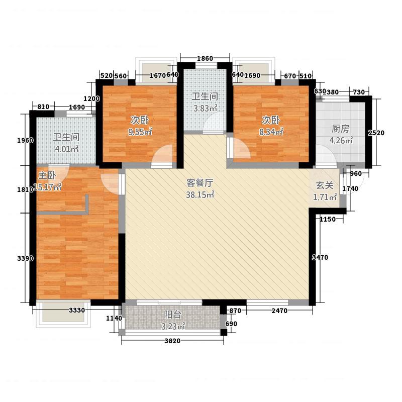 汉飞世界城121.85㎡户型3室2厅2卫1厨