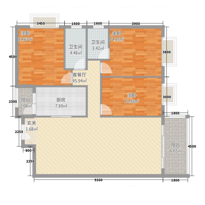 银城广场13.00㎡F户型3室2厅2卫1厨