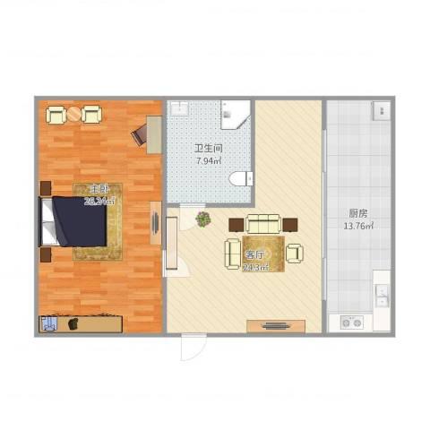 山海巷1室1厅1卫1厨96.00㎡户型图